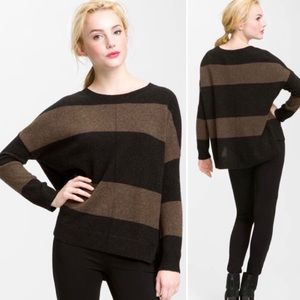 VINCE Rugby Striped Brown Wool Sweater Size Small
